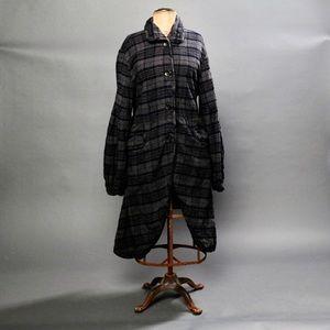 Free People plaid coat gray oversized lagenlook S